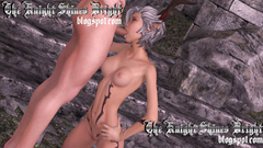 White hair skinny elf girl deeply sucks long dick