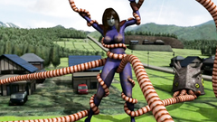 Huge monster with lots of tentacles bounds giant 3D woman