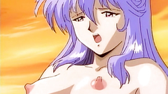 Blue haired babe in hentai porn cartoon