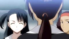 Young dark-haired schoolgirls in hentai cartoon