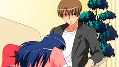 Brunette anime girl swallows cock on her knees