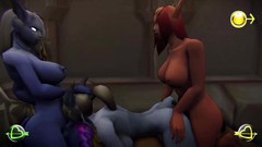 Busty babe from the WoW fuck each others