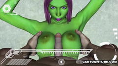 Green fantasy girl gets nice pussy and tits fuck