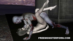 Bloody monster fucks naked 3d girl in porn cartoon