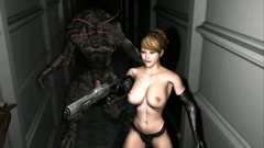 Great 3d monster caught a pretty girl and shoved her a nasty dick