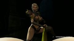 3D Evil princess with strapon cock bangs busty slut