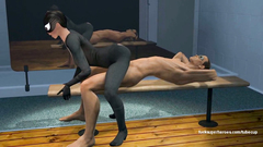 Catwoman in sexy latex costume gets sex in 69 position
