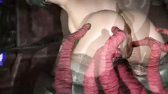 Disgusting 3d monsters and strange creatures inject sperm into a young girl