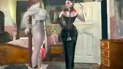 Two hot busty women dressed in latex love anal fisting