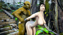 Green Orc caught a beautiful princess and make her jump on his big cock