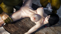A gang of Orcs fucked busty brunette princess in anal hole - 3D DP