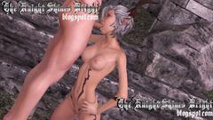 White hair skinny elf girl deeply sucks long dick