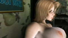 3d threesome with two busty chicks fucking one short dude