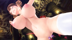 Busty bound 3d girl in white stockings in the realm of tentacles