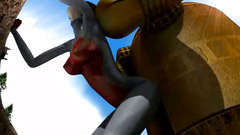 Big Yellow robot fucks giant 3D girl in doggy style pose