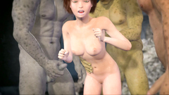 Kinky cave creatures make triple penetration of a poor 3d beauty