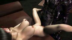 Busty nerd sucks monster's cock - 3d toon porn