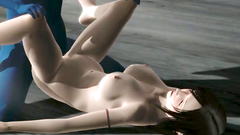 Nude brunette blows cock and gets nailed in her twat