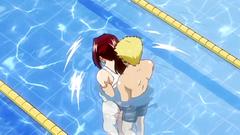 Busty redhead teen seduced in the pool - hentai porn video