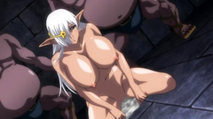 Busty blonde elf slut getting drilled by horny monsters