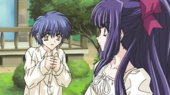 Young brunette anime teen looks so romantic and cute