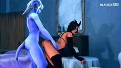 Hot and sexy monster babes pounding each other