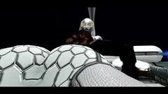 Futanari robot bangs female babe in all her holes
