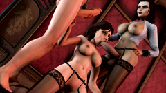 Handsome babe in stockings plays with two huge dicks