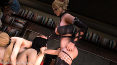 Hardcore group fuck in the library by girls with cocks