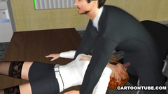 Office face fuck with horny and submissive redhead secretary