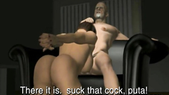 Submissive naked slave sucks her sugar daddy's cock