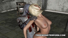 Sexy 3d babe gets hardcore fucked by evil monster
