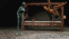 BDSM 3d porn cartoon - sexy brunette against evil creature