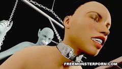 BDSM 3d porn cartoon - sexy brunette against evil creature