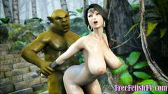 3D Big Tits Take On Huge Green Cock