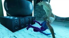 3D Blue Alien Hottie Fucked in a Temple!