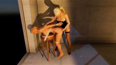 3D Futanari BDSM with Self Facials!